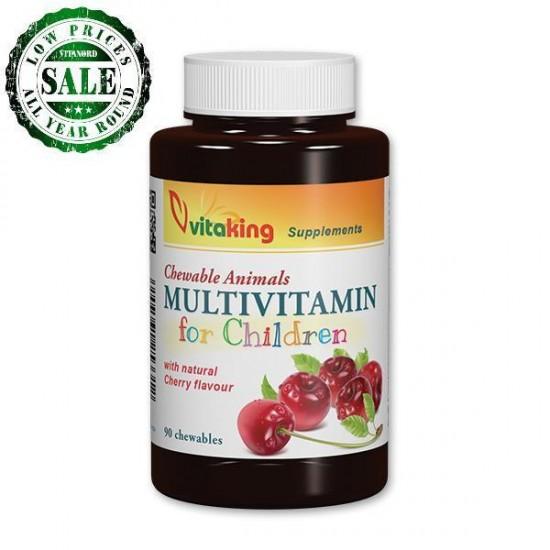 Multivitamin for kids - cherry taste, animal shape (90 tablets) (Vitaking) by Vitanord.eu
