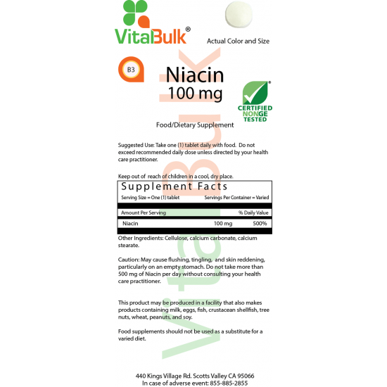 Niacin (Vitamin B-3) 100 mg (100 tabletter) VitalBulk (VitalBulk) by Vitanord.eu