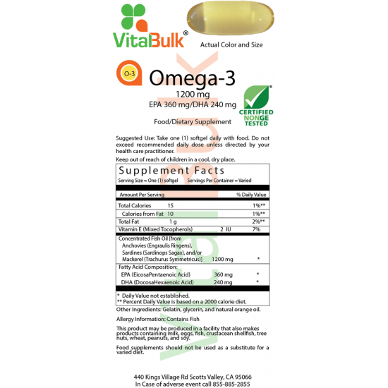 Omega-3 1200mg (100 Softgels) VitalBulk (VitalBulk) by Vitanord.eu