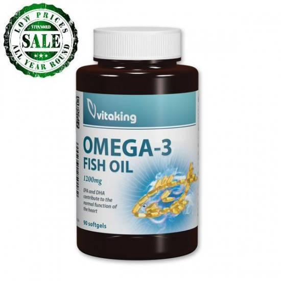Omega 3 fiskeolie 1200 mg (90 softgales) (Vitaking) by Vitanord.eu