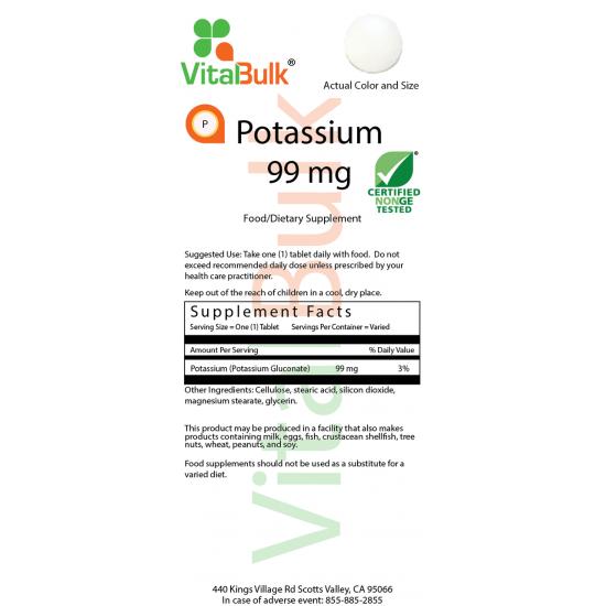 Kalium 99 mg (125 tabletter) VitalBulk (VitalBulk) by Vitanord.eu