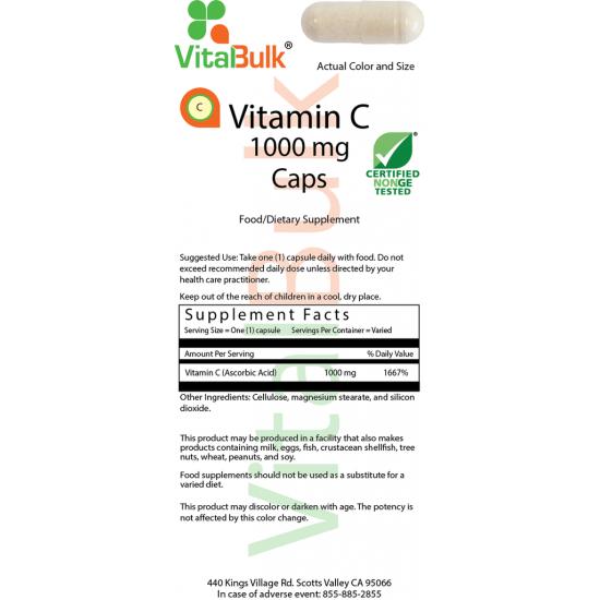 Vitamin C 1000 mg (100 kapsler) VitalBulk (VitalBulk) by Vitanord.eu