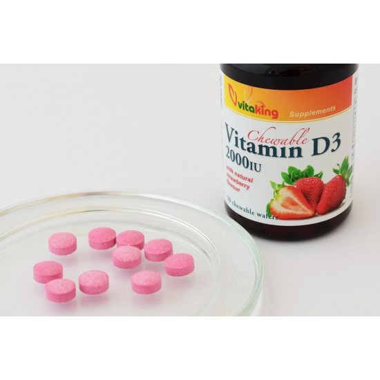 Vitamin D3 2000iu Strawberry-flavoured, chewable tablet (Vitaking) by Vitanord.eu